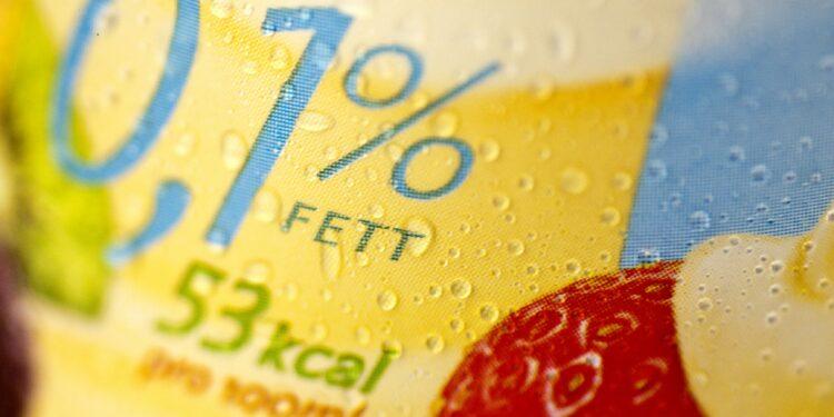 0,1% Fettangabe auf einer Verpackung mit Kalorienangabe