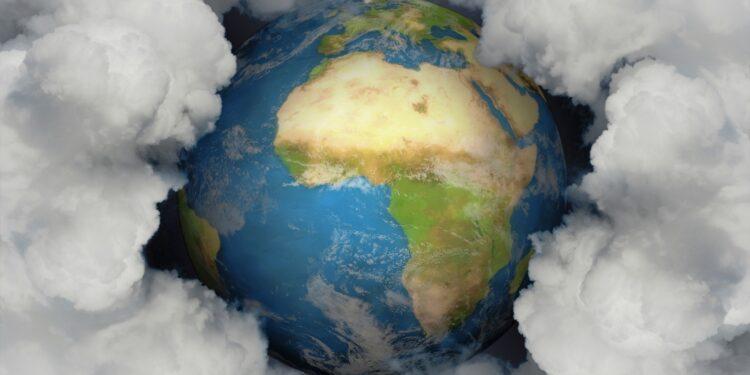 Eine Abbildung der Erde, die von einer dichten Rauchwolke umgeben ist.