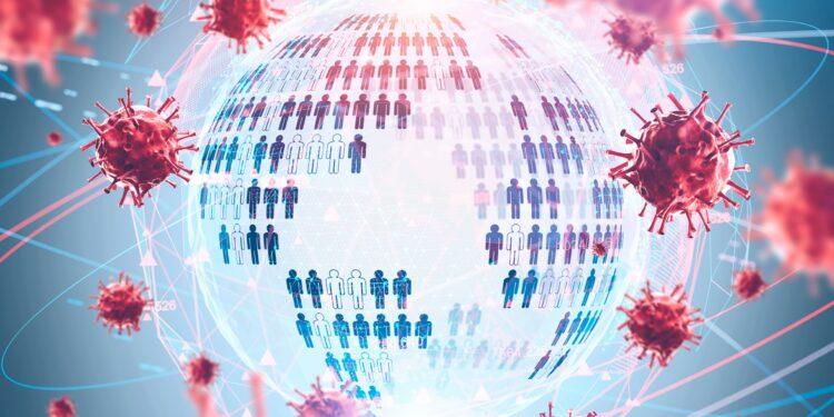 Eine grafische Darstellung einer Weltkugel, die von Viren umgeben ist.