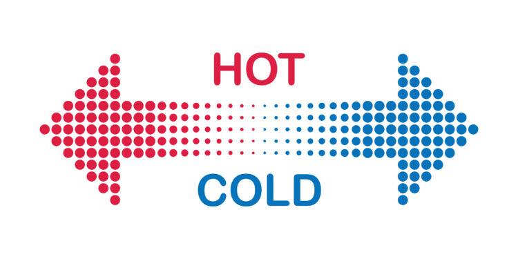Roter und blauer Pfeil mit der Bezeichnung Hot Cold