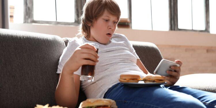 Dicker Jugendlicher isst ungesundes Zeug.