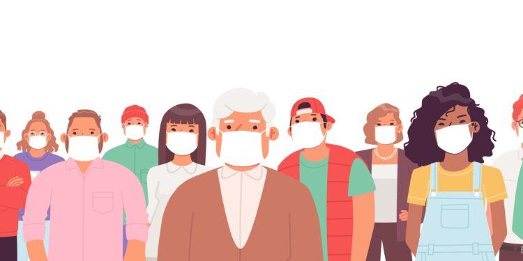 Comichafte Darstellung von Mundschutz-tragenden Menschen verschiedener Altersgruppen.