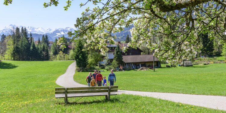 Familie bei einer Wanderung im Frühling