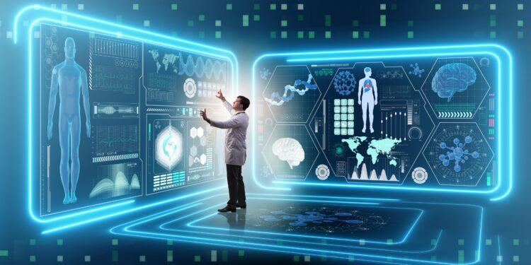 Ein Arzt schaut sich Daten eines Patienten in einer virtuellen Umgebung an.