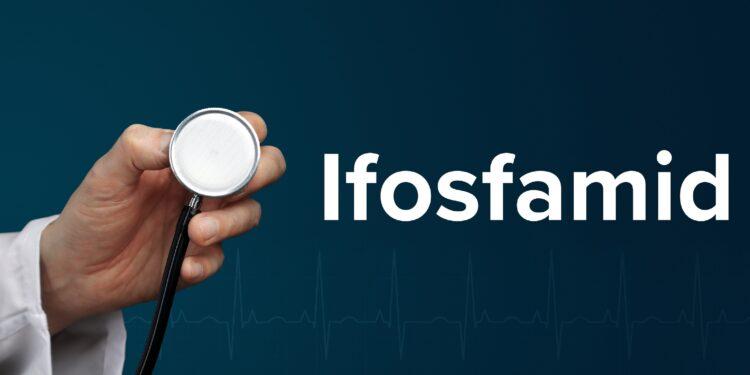 Arzt hält Stethoskop in der Hand, daneben ist der Schriftzug Ifosfamid