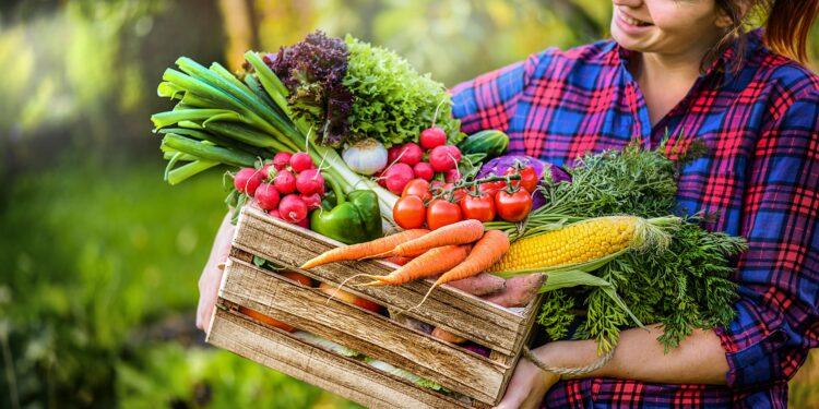 Frau trägt Korb mit Obst und Gemüse.