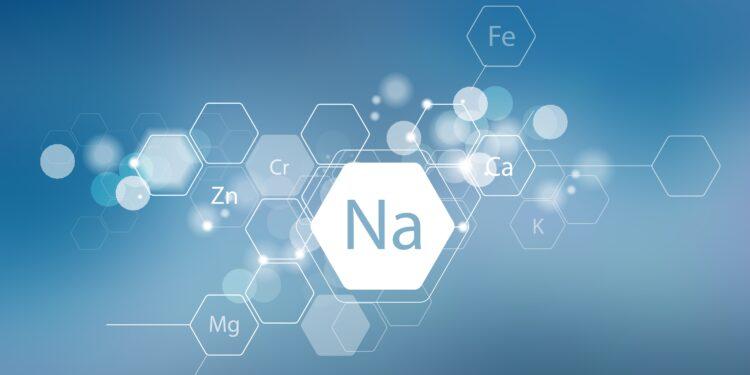 Schematische Darstellung von Natrium als Element.