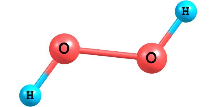 Die chemische Struktur von Wasserstoffperoxid.