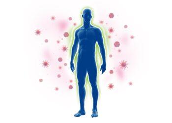 Eine grafische Darstellung eines Mannes, der von Krankheitserregern umgeben ist.