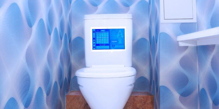 In einem Spülkasten einer Toilette ist ein Bildschirm eingebaut.