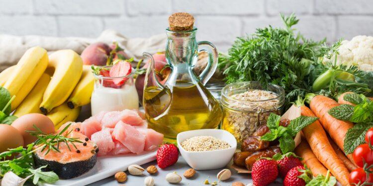 Lebensmittel, die typisch für eine flexitarische Ernährungsweise sind.