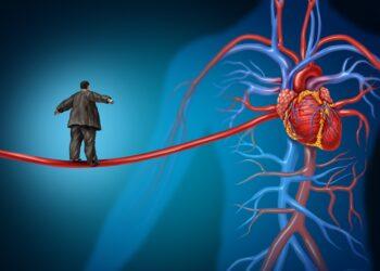 Grafische Darstellung: Ein übergewichtiger Mann balanciert auf einem Seil, dass zu einem Herz führt.