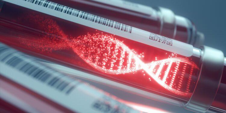 Grafische Darstellung, eines Bluttests, in dem ein Muster in Form eines DNA-Stranges abgebildet ist.