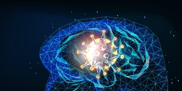 Darstellung eine Gehirns mit großem Coronavirus im Zentrum.