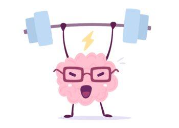 Gezeichnetes Gehirn beim Gewichtheben