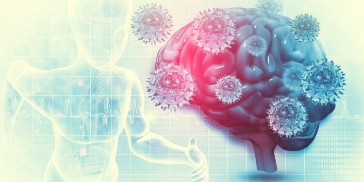 Eine grafische Darstellung eines Gehirn, das von Viren umgeben ist.