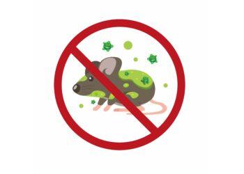 Verboten-Schild mit einer gezeichneten Maus voller Viren.
