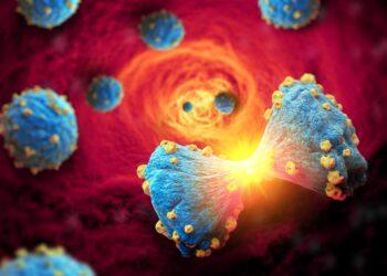Grafische Darstellung von Krebszellen bei der Teilung.