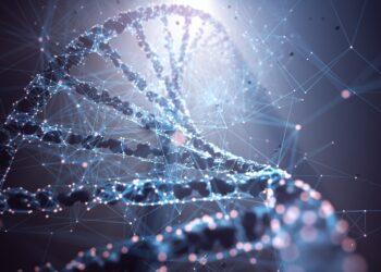 Grafische Darstellung eines DNA-Strangs.