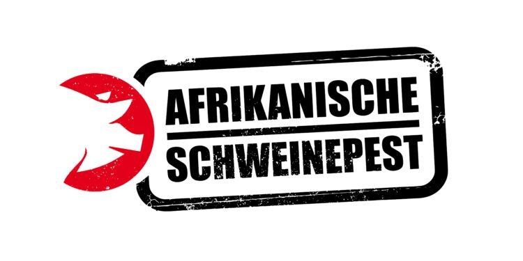 Rot umrandeter Schweinkopf mit dem Schriftzug Afrikanische Schweinepest