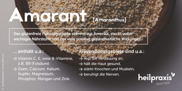 Einige Inhaltsstoffe und medizinische Wirkungen von Amarant in der Übersicht