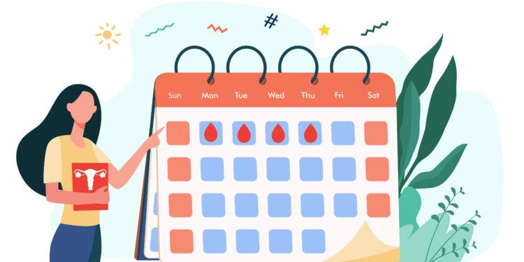 Bild von Frau mit Menstruationskalender.