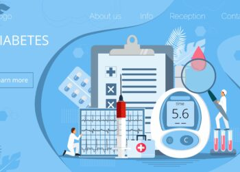 Grafik von mit Diabetes verbundenen Gegenständen.