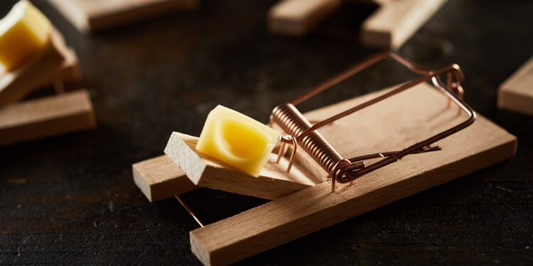 A mousetrap with a piece of cheese stands on a dark surface.