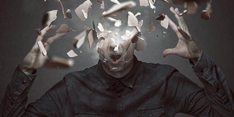 Mann explodiert der Kopf.