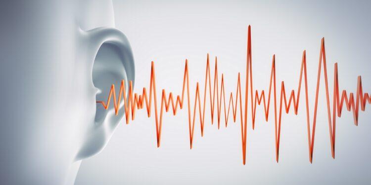 Grafische Darstellung eines Ohres, das akustische Signale empfängt, die durch eine gezackte Linie symbolisiert werden.
