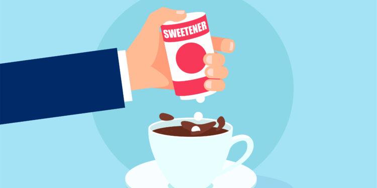 Un'illustrazione comica di un LED che aggiunge dolcificante a una tazza di caffè.