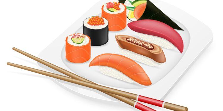 Bild von einem Teller mit Sushi.