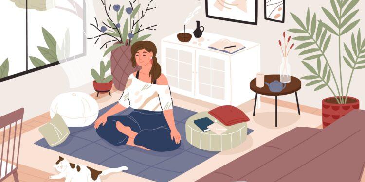 Bild von Frau, die Yoga macht.
