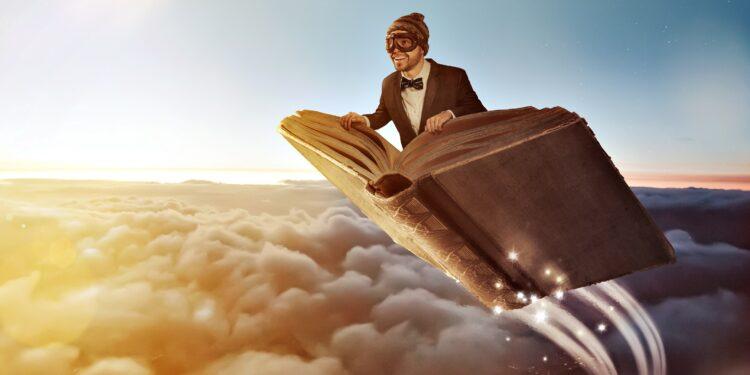 Grafische Darstellung eines Mannes, der auf einem Buch durch die Luft fliegt.