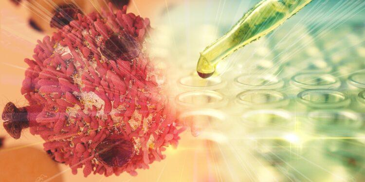 Grafische Darstellung einer Krebszelle und einer Pipette, aus der eine Flüssigkeit tropft.