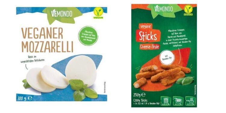 """Produktabbildung  """"Vemondo Veganer Mozzarelli"""" und """"Vemondo Vegane Sticks""""."""