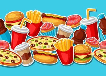 Comichafte Darstellung ungesunder Lebensmittel.
