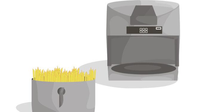 Zeichnung einer Heißluftfritteuse.