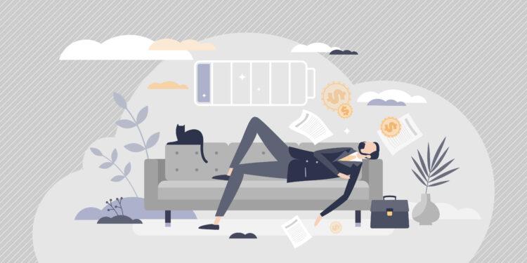 Comichafte Darstellung eines Mannes im Anzug, der auf einem Sofa ein Nickerchen macht.