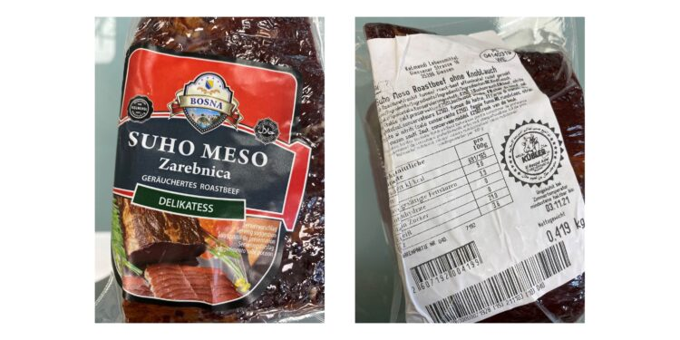 "Produktabbildung  ""Suho Meso Zarebnica, geräuchertes Roastbeef ohne Knoblauch"""