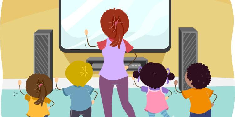 Zeichnung von Frau mit Kindern, welche Exergames spielen.